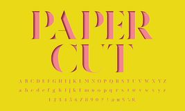 Paper cut font. Color paper cut alphabet design stock illustration