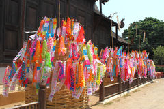 Color paper flag for Buddha worship. Many Color paper flag in temple of Thailand,For Buddha worship Stock Photo
