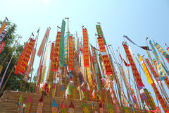 Color paper flag for Buddha worship. Many Color paper flag in temple of Thailand,For Buddha worship Stock Photos
