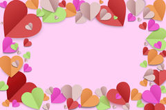Color paper heart background Stock Photos