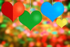 Color paper hearts stock image