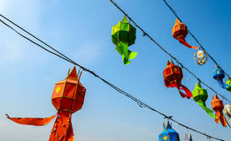 Color Paper Lamps in Northern Thailand. Royalty Free Stock Photos