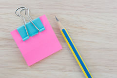 Color  Paper notes with sticky note on Wood Background Stock Photo
