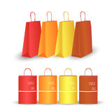 Color paper packages. Colored paper bags store sale Stock Photos