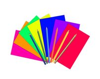 Color paper and pencils isolated on white Stock Photo