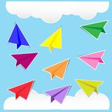 Color paper plane stickers with shadows. Cute,eps10 Stock Image