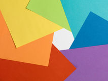 Color paper rainbow. Top view. Aperture like. Stock Photo