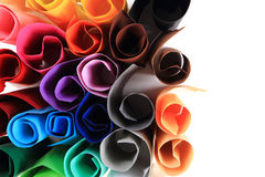 Color paper rolls. Isolated on the white background royalty free stock photography