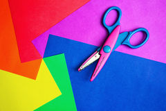 Color paper & scissors royalty free stock photo
