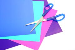 Color paper and scissors Royalty Free Stock Photography