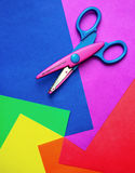 Color paper & scissors Royalty Free Stock Photos