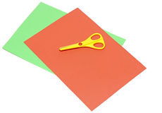 Color paper and scissors Royalty Free Stock Image