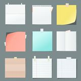 Color paper sheets. Collection of various crumpled note papers with curled corner and adhesive tape, ready for your message. Flat vector cartoon note papers Stock Photo