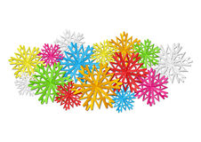 Color paper snowflakes Stock Photos