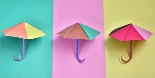 Color paper umbrellas Stock Photos