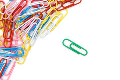 Color paperclips. The image of the color paperclips isolated on white Royalty Free Stock Photo