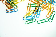 Color Paperclips white background isolated stock image