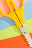 Color papers with scissors paperwork art Royalty Free Stock Photography