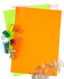 Color Papers And Stationeries. A lot of stationeries on color papers Royalty Free Stock Photos