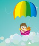 Color parachute on children and animals. Illustration Royalty Free Stock Photos