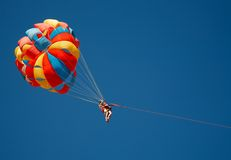 Color parachute in the sky Royalty Free Stock Photos