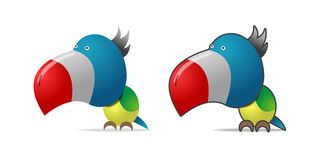 Color parrot. Illustration on white, two images Stock Photography