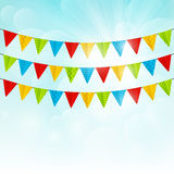 Color party flags on sunny Royalty Free Stock Photo