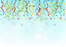 Color party ribbons. On sky background Royalty Free Stock Photos