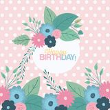 Color pastel background with dots and circular frame with decorative flowers and text happy birthday inside. Vector illustration Royalty Free Stock Photo