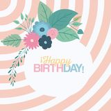 Color pastel lines background circular frame with decorative flowers and text happy birthday inside. Vector illustration Stock Photo