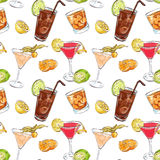 Color pattern contemporary classics cocktails. On white background. Background for use in design, web site, packing, textile, fabric Stock Photo