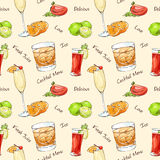 Color pattern contemporary classics cocktails. On white background. Background for use in design, web site, packing, textile, fabric Royalty Free Stock Images