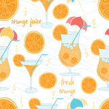 Color pattern contemporary classics summer orange cocktails on white background with light blue waves. Background for use in design, wallpaper, packing Royalty Free Stock Image