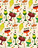 The color pattern of desserts, ice cream and sweets. The linear pattern of desserts, ice cream and sweets.  Vector illustration Stock Photo