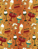 The color pattern of desserts, ice cream and sweets. The linear pattern of desserts, ice cream and sweets. Vector illustration Stock Image