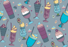 The color pattern of desserts, ice cream and sweets. The linear pattern of desserts, ice cream and sweets. Vector illustration Royalty Free Stock Photo