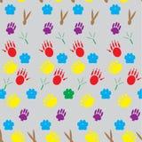 Color pattern footprints various mammals Royalty Free Stock Photos