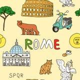 Color pattern set of Rome symbols Stock Photos