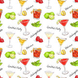 Color pattern unforgettables cocktails Royalty Free Stock Image