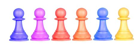 The color pawns, chess pieces. Isolated on a white background Stock Photos
