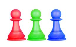 The color pawns, chess pieces Stock Photo