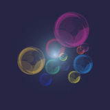 Color of pearl bubbles on dark blue background Royalty Free Stock Image