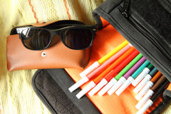 Color pen in the bag Stock Photos