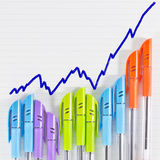 Color pen business graph Stock Photography