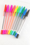 Color pen on the checked paper Royalty Free Stock Images