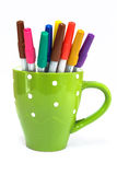 Color pen in cup Royalty Free Stock Image