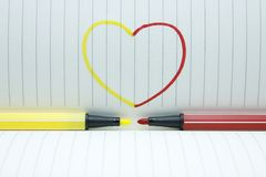 Color pen in love Stock Images