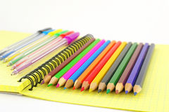 Color pen and pencils Stock Photos