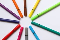 Color pen. Pile with color pens isolated on white background. Color background texture, felt-pen activity. Children school fun tim. E. Students painting time Royalty Free Stock Photos