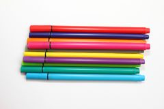 Color pen. Pile with color pens isolated on white background. Color background texture, felt-pen activity. Children school fun tim. E. Students painting time Royalty Free Stock Image